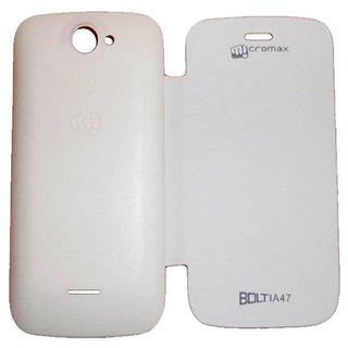 Flip Cover For  Micromax Bolt A47  White available at ShopClues for Rs.199