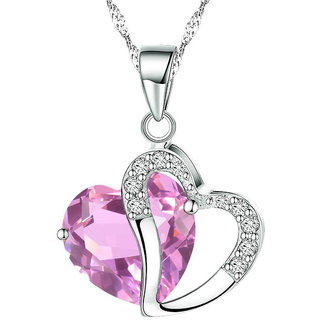 Shining Diva Non Plated Pink PendantChains For Women-CFJ7848np