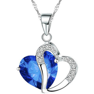 Shining Diva Non Plated Blue PendantChains For Women-CFJ7849np