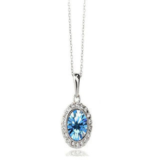 Shining Diva Non Plated Blue PendantChains For Women-CFJ7852np