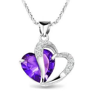 Shining Diva Non Plated Purple PendantChains For Women-CFJ7906np