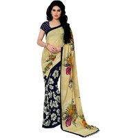 Aagaman Fashion Blue Printed Georgette Saree with Blouse