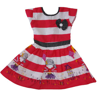 Girls Dress Striped printed Cotton Frock by Arshia Fashions - Cap sleeve - Red