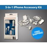 5 In 1 Usb Charger Car Charger Usb Cable Earphone For Apple Iphone 4gs 3g 2g En 2