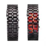 Unisex Bracelet Samurai Faceless Red Led Digital Metal Black Wrist Watch Gnw168