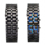 Unisex Bracelet Samurai Faceless Blue Led Digital Metal Black Wrist Watch Gnw169