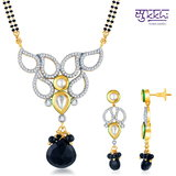 Sukkhi Kundan-CZ Gold And Rhodium Plated Pretty Mangalsutra Set