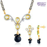 Sukkhi Kundan-CZ Gold And Rhodium Plated Youthful Mangalsutra Set
