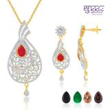 Sukkhi Alluring Gold And Rodium Plated 4 Set Of Changeable Cz Stone Pendant Set