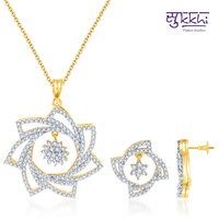 Sukkhi Ravishing Gold and Rodium Plated CZ Pendant Set