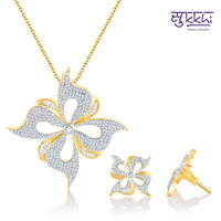 Sukkhi Beguilling Gold and Rodium Plated CZ Pendant Set