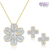 Sukkhi Fine Design Gold and Rodium Plated CZ Pendant Set