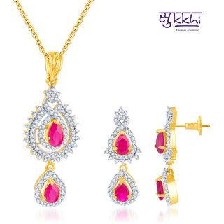 Sukkhi Artistically Crafted Gold and Rodium Plated Ruby CZ Pendant Set