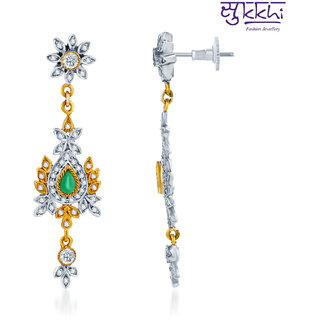 Sukkhi Ritzzy Oxidize Plated CZ Studded Chandelier Earrings