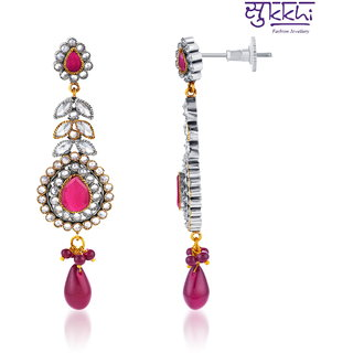 Sukkhi Pleasing Oxidize Plated CZ Studded Chandelier Earrings