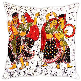 Fairshopping Cushion Cover Folk Dancers Duo Painting  (PMCCWF0146)