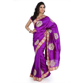 Purple bhagalpuri silk saree with unstitched blouse (amr1343)