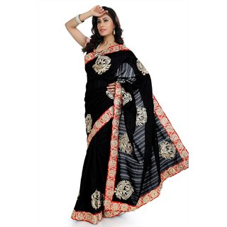 Black bhagalpuri silk saree with unstitched blouse (amr1344)