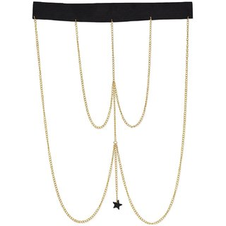 Fayon Fashion Statement Golden Chain With Black Star Thigh Chain