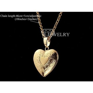 18k Real Gold Plated Romantic Heart Locket Pendant Chain Necklace For Women