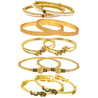 Jewels Galaxy Gold Plated Multicolor Alloy Bangles For Women