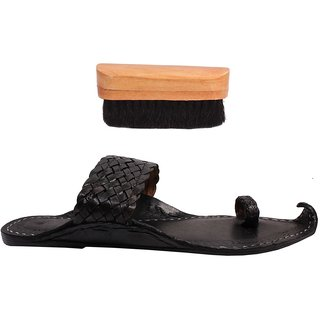 Sushito Ethnic Pure Leather  Black Kolhapuri Chappal For Men With Shoe Brush JSMKCM0272