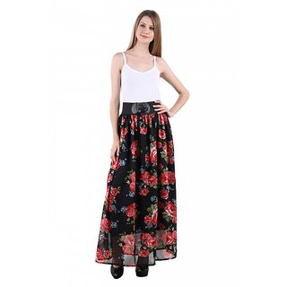 Raabta Black with Red Multicolor Floral Print Skirt with waist Belt