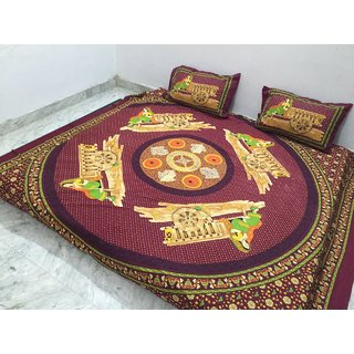 Akash Ganga Jaipuri Cotton Double Bedsheet with 2 Pillow Covers (Jaipuri-02)