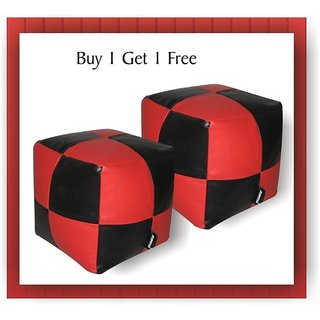 JUPITER Bean Bag Cube- set of 2 pcs - REDBlack - Soft Leather Feel - Cover Only