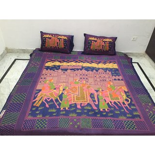 Akash Ganga Jaipuri Cotton Double Bedsheet with 2 Pillow Covers (Jaipuri-03)
