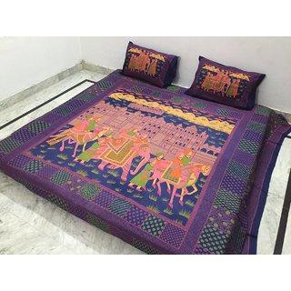Akash Ganga Pure Cotton Double Bedsheet with 2 Pillow Covers (Jaipuri-11)