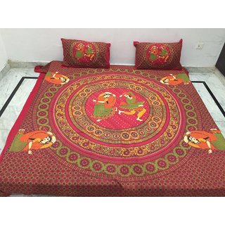 Akash Ganga Pure Cotton Double Bedsheet with 2 Pillow Covers (Jaipuri-12)