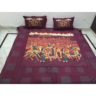 Akash Ganga Printed Cotton Double Bedsheet with 2 Pillow Covers (Jaipuri-13)