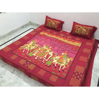 Akash Ganga Jaipuri Cotton Double Bedsheet with 2 Pillow Covers (Jaipuri-18)