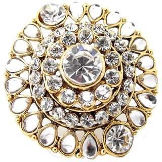 Biyu Latest Design Kundan Filigree Cubic Zironia Gold Plated Adjustable Finger Ring
