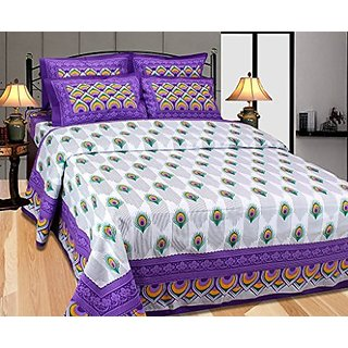 Akash Ganga Purple Cotton Double Bedsheet with 2 Pillow Covers (Cotton01)
