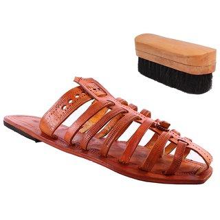 Sushito Pure Leather Kolhapuri Mojari For Men With Shoe Brush JSMKCM0285