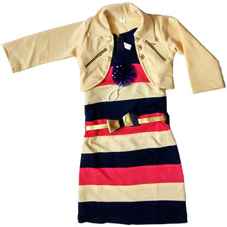 Midi dress for girls by Arshia Fashions - Sleeveless - party wear - with Beige jacket - 3-7 Years