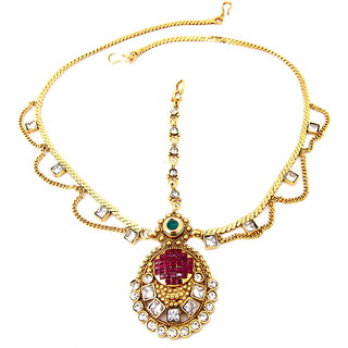 Biyu Bridal Collection Ruby Reverse AD Gold Plated Copper Matha Patti Head Jewellery