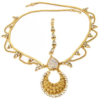 Biyu Bridal Collection Reverse AD Gold Plated Copper Matha Patti Head Jewellery