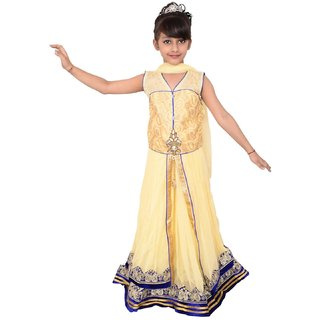 Lehenga Choli Dress for girls Kids - Beige - Net - Embroidered - Partywear - Readymade - 3 - 10 Years