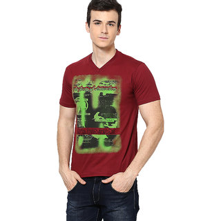 Shanty Trendy Men's Maroon Graphic Cotton T-Shirt