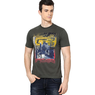 Shanty Men's Olive Graphic Cotton T-Shirt