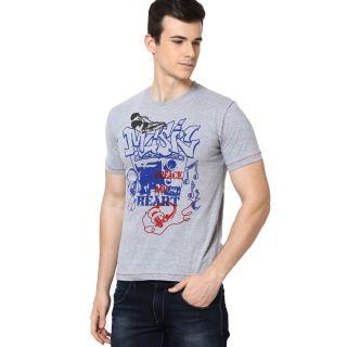 Shanty Men's Grey Melange Graphic Cotton T-Shirt