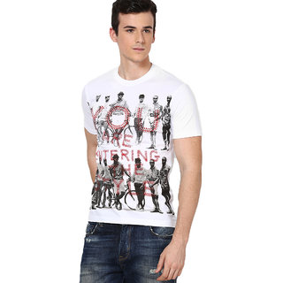 Shanty Men's White Graphic Cotton T-Shirt