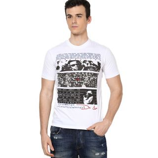 Shanty Stylish Men's White Graphic Cotton T-Shirt