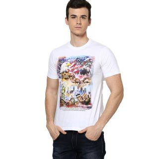 Shanty Trendy Men's White Graphic Cotton T-Shirt