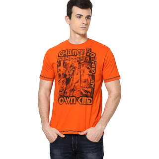 Shanty Men's Orange Graphic Cotton T-Shirt