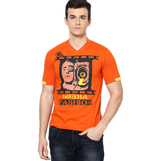Shanty Stylish Men's Orange Graphic Cotton T-Shirt
