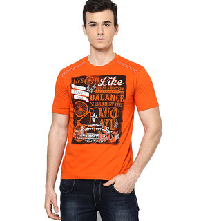 Shanty Trendy Men's Orange Graphic Cotton T-Shirt
